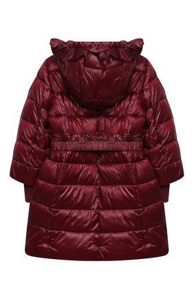Детское утепленное пальто MONNALISA бордового цвета, арт. 176104   Фото 2