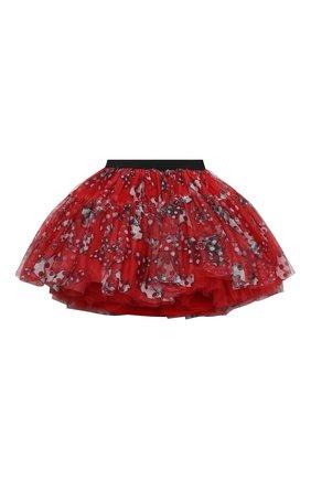 Детская многослойная юбка MONNALISA красного цвета, арт. 196708 | Фото 2