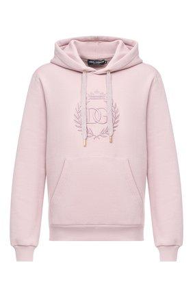 Мужской хлопковое худи DOLCE & GABBANA светло-розового цвета, арт. G9TI6Z/FU77G   Фото 1