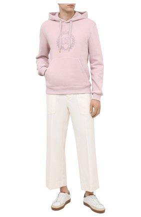 Мужской хлопковое худи DOLCE & GABBANA светло-розового цвета, арт. G9TI6Z/FU77G   Фото 2