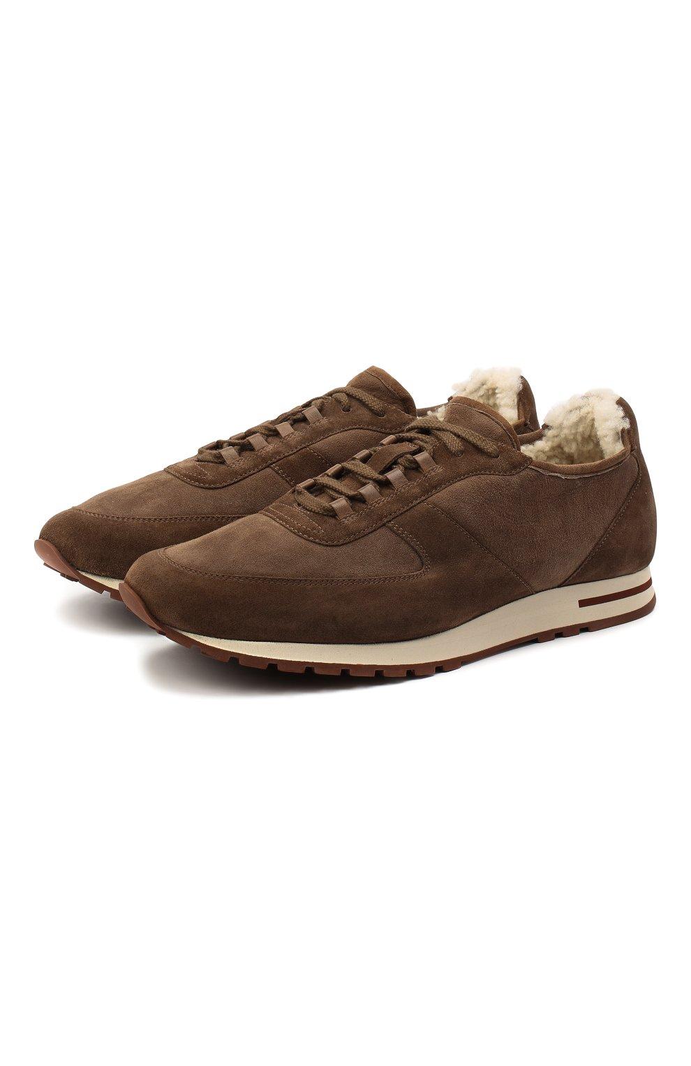 Мужские замшевые кроссовки LORO PIANA коричневого цвета, арт. FAL5055 | Фото 1