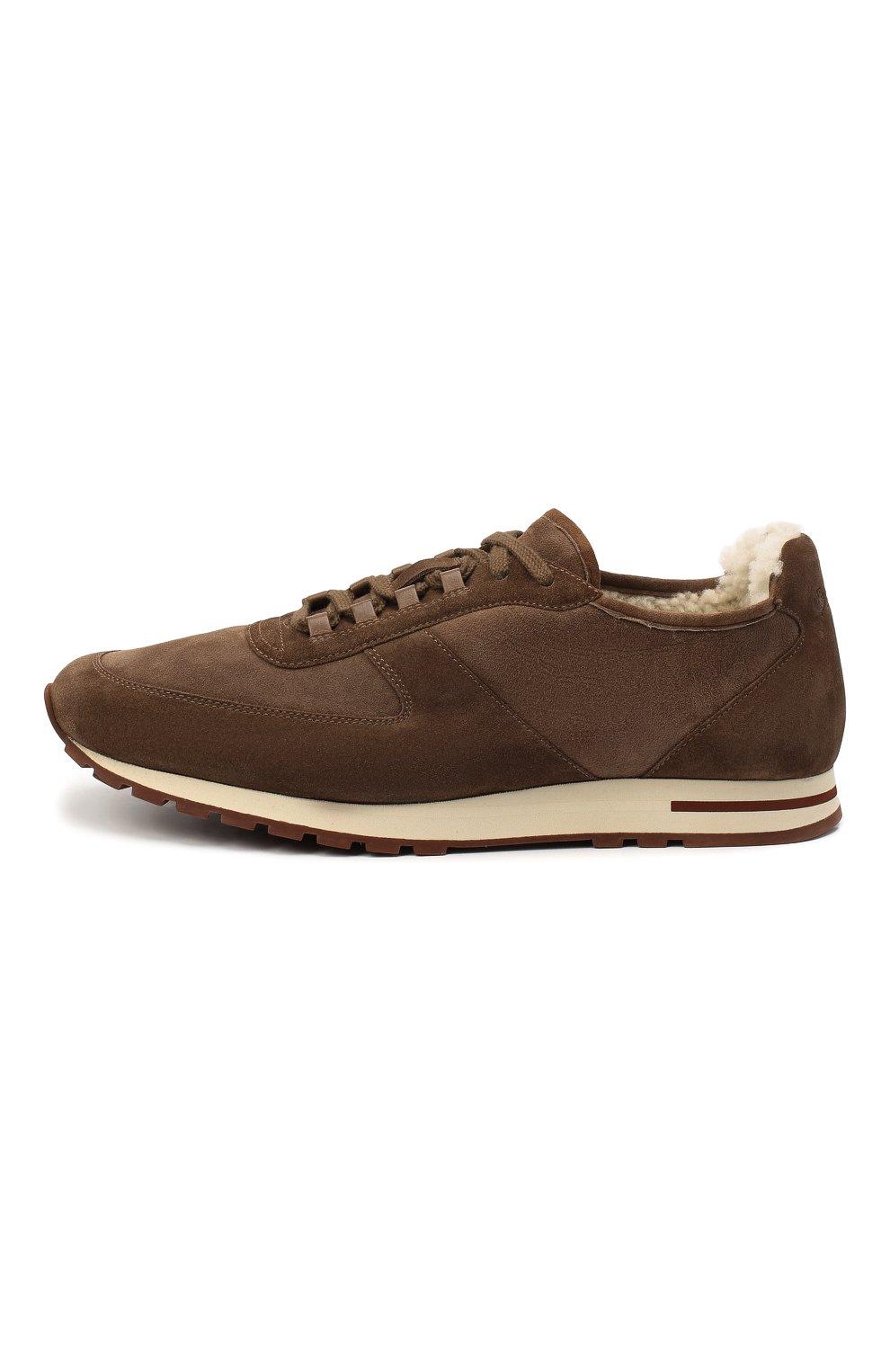Мужские замшевые кроссовки LORO PIANA коричневого цвета, арт. FAL5055 | Фото 3