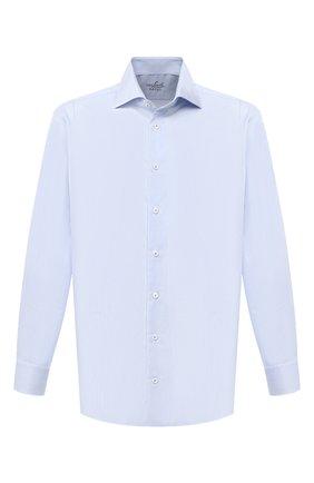 Мужская хлопковая сорочка VAN LAACK голубого цвета, арт. RIVARA-LTFN/151038 | Фото 1 (Рукава: Длинные; Материал внешний: Хлопок; Длина (для топов): Стандартные; Стили: Классический; Мужское Кросс-КТ: Сорочка-одежда; Принт: Полоска; Случай: Формальный; Рубашки М: Regular Fit; Манжеты: На пуговицах; Воротник: Акула)