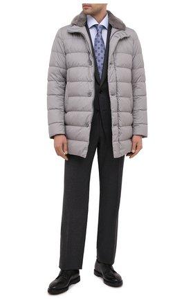 Мужская хлопковая сорочка VAN LAACK голубого цвета, арт. RIVARA-LTFN/151038 | Фото 2 (Рукава: Длинные; Материал внешний: Хлопок; Длина (для топов): Стандартные; Стили: Классический; Мужское Кросс-КТ: Сорочка-одежда; Принт: Полоска; Случай: Формальный; Рубашки М: Regular Fit; Манжеты: На пуговицах; Воротник: Акула)