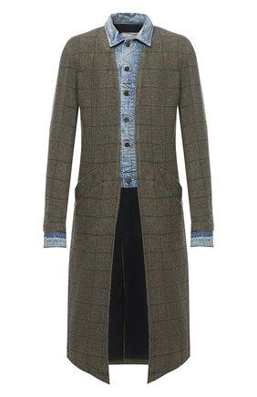 Мужской шерстяное пальто GREG LAUREN хаки цвета, арт. GLFW20-AM106 | Фото 1