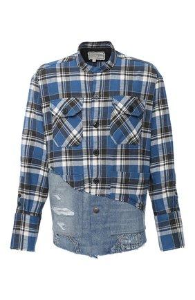 Мужская комбинированная рубашка GREG LAUREN синего цвета, арт. GLFW20-AM031 | Фото 1