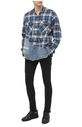 Мужская комбинированная рубашка GREG LAUREN синего цвета, арт. GLFW20-AM031 | Фото 2