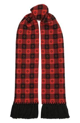 Мужской шарф из шерсти и хлопка GUCCI красного цвета, арт. 633990/4GB21 | Фото 1