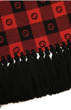 Мужской шарф из шерсти и хлопка GUCCI красного цвета, арт. 633990/4GB21 | Фото 2