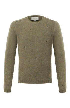 Мужской шерстяной свитер GUCCI зеленого цвета, арт. 636328/XKBJA | Фото 1 (Рукава: Длинные; Материал внешний: Шерсть; Длина (для топов): Стандартные; Стили: Гранж, Кэжуэл, Бохо; Принт: Без принта; Мужское Кросс-КТ: Свитер-одежда)