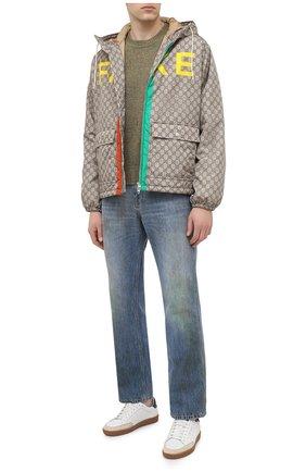 Мужской шерстяной свитер GUCCI зеленого цвета, арт. 636328/XKBJA | Фото 2 (Рукава: Длинные; Материал внешний: Шерсть; Длина (для топов): Стандартные; Стили: Гранж, Кэжуэл, Бохо; Принт: Без принта; Мужское Кросс-КТ: Свитер-одежда)