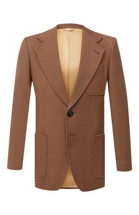Мужской шерстяной пиджак GUCCI коричневого цвета, арт. 635942/ZAA2U | Фото 1