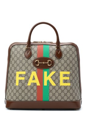 Мужская сумка-тоут horsebit 1955 «fake/not» GUCCI коричневого цвета, арт. 621640/2GCBG | Фото 1