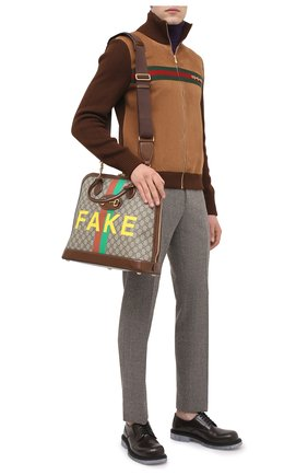 Мужская сумка-тоут horsebit 1955 «fake/not» GUCCI коричневого цвета, арт. 621640/2GCBG | Фото 2