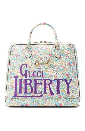 Мужская кожаная сумка-тоут horsebit 1955 liberty london GUCCI разноцветного цвета, арт. 621640/13LBG | Фото 1