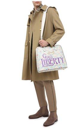 Мужская кожаная сумка-тоут horsebit 1955 liberty london GUCCI разноцветного цвета, арт. 621640/13LBG | Фото 2