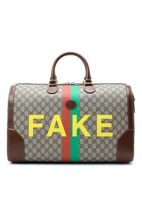 Мужская дорожная сумка «fake/not» GUCCI коричневого цвета, арт. 547953/2GCBG   Фото 1