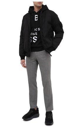 Мужской хлопковое худи BOSS черно-белого цвета, арт. 50438271   Фото 2