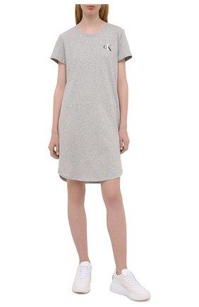 Женская хлопковая сорочка CALVIN KLEIN серого цвета, арт. QS6358E   Фото 2