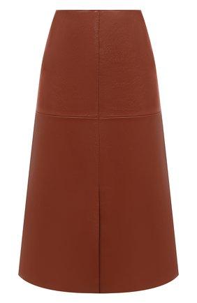 Женская кожаная юбка JOSEPH оранжевого цвета, арт. JF004931 | Фото 1