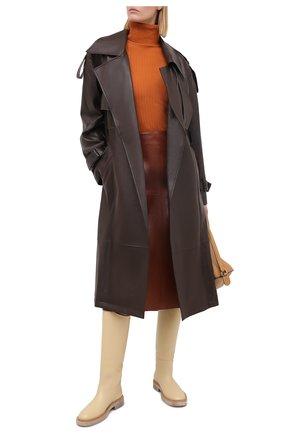 Женская кожаная юбка JOSEPH оранжевого цвета, арт. JF004931 | Фото 2