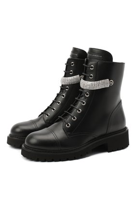 Женские кожаные ботинки alexa crystal GIUSEPPE ZANOTTI DESIGN черного цвета, арт. I070033/001 | Фото 1