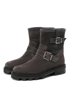 Женские замшевые ботинки youth JIMMY CHOO темно-серого цвета, арт. Y0UTH II/SUE | Фото 1