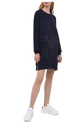 Женская хлопковое платье EMPORIO ARMANI темно-синего цвета, арт. 164395/0A265 | Фото 2