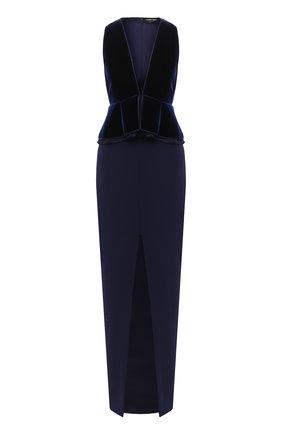 Женское платье TOM FORD темно-синего цвета, арт. AB2883-FAX103 | Фото 1 (Материал подклада: Шелк; Женское Кросс-КТ: Платье-одежда; Рукава: Без рукавов)