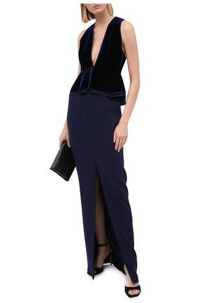 Женское платье TOM FORD темно-синего цвета, арт. AB2883-FAX103 | Фото 2 (Материал подклада: Шелк; Женское Кросс-КТ: Платье-одежда; Рукава: Без рукавов)