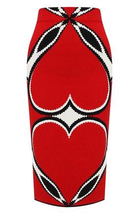 Женская юбка из вискозы ALEXANDER MCQUEEN красного цвета, арт. 641913/Q1AR1 | Фото 1