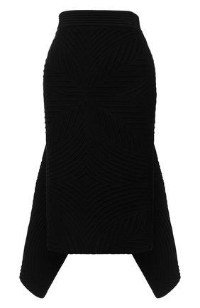 Женская шерстяная юбка ALEXANDER MCQUEEN черного цвета, арт. 641897/Q1AR0   Фото 1