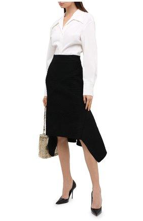 Женская шерстяная юбка ALEXANDER MCQUEEN черного цвета, арт. 641897/Q1AR0   Фото 2