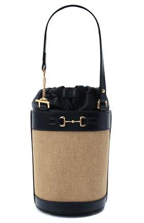 Женская сумка gg 1955 horsebit GUCCI бежевого цвета, арт. 637115/H58HG   Фото 1 (Материал: Текстиль; Размер: small; Сумки-технические: Сумки top-handle, Сумки через плечо)