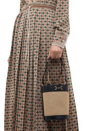 Женская сумка gg 1955 horsebit GUCCI бежевого цвета, арт. 637115/H58HG   Фото 2 (Материал: Текстиль; Размер: small; Сумки-технические: Сумки top-handle, Сумки через плечо)