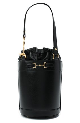 Женская сумка gg 1955 horsebit GUCCI черного цвета, арт. 637115/1DBYG   Фото 1 (Размер: small; Материал: Натуральная кожа; Сумки-технические: Сумки top-handle, Сумки через плечо)