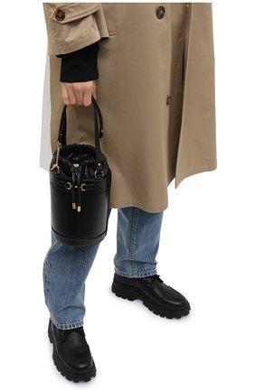 Женская сумка gg 1955 horsebit GUCCI черного цвета, арт. 637115/1DBYG   Фото 2 (Размер: small; Материал: Натуральная кожа; Сумки-технические: Сумки top-handle, Сумки через плечо)