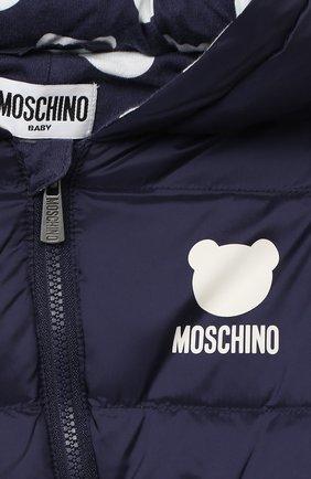 Детского пуховый комбинезон MOSCHINO темно-синего цвета, арт. MUS01Q/L3A22 | Фото 3