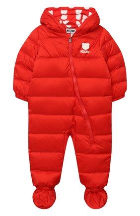 Детского пуховый комбинезон MOSCHINO красного цвета, арт. MUS01Q/L3A22 | Фото 1