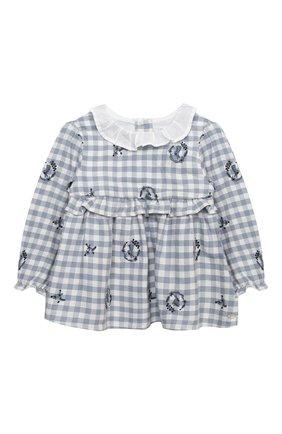 Детский хлопковая блузка TARTINE ET CHOCOLAT синего цвета, арт. TR12051/1M-1A | Фото 1 (Материал подклада: Хлопок; Рукава: Длинные; Материал внешний: Хлопок; Ростовка одежда: 12 мес | 80 см, 6 мес | 68 см, 9 мес | 74 см)