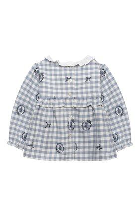 Детский хлопковая блузка TARTINE ET CHOCOLAT синего цвета, арт. TR12051/1M-1A | Фото 2 (Материал подклада: Хлопок; Рукава: Длинные; Материал внешний: Хлопок; Ростовка одежда: 12 мес | 80 см, 6 мес | 68 см, 9 мес | 74 см)
