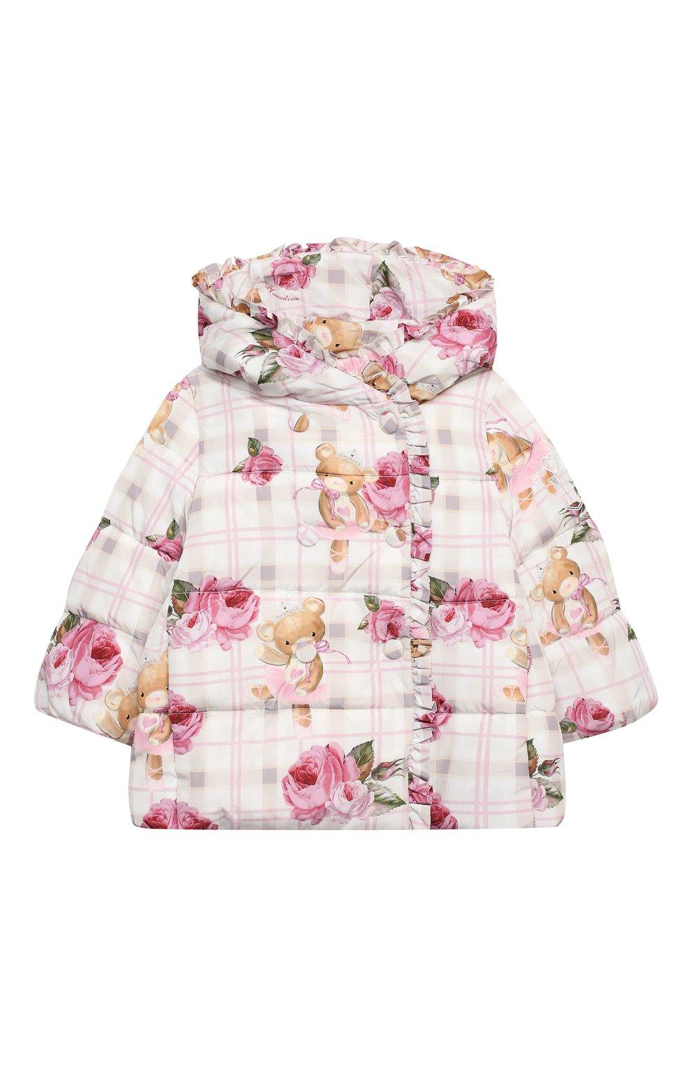Детского куртка с капюшоном MONNALISA розового цвета, арт. 396104   Фото 1 (Рукава: Длинные; Ростовка одежда: 12 мес   80 см, 18 мес   86 см, 24 мес   92 см, 36 мес   98 см)