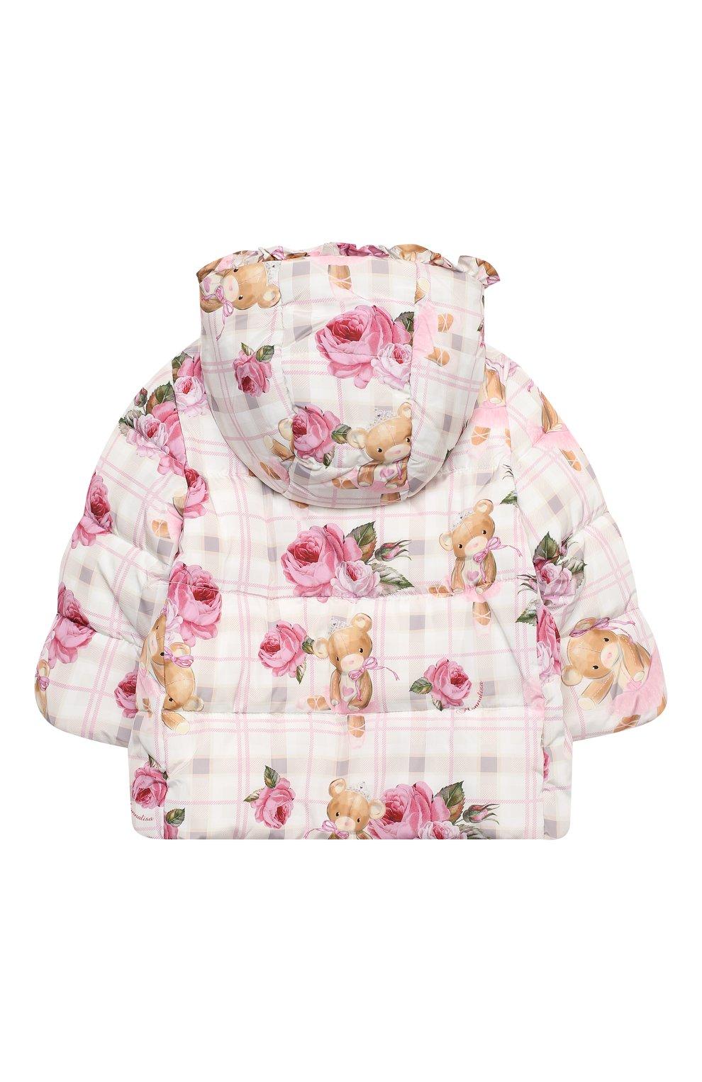 Детского куртка с капюшоном MONNALISA розового цвета, арт. 396104   Фото 2 (Рукава: Длинные; Ростовка одежда: 12 мес   80 см, 18 мес   86 см, 24 мес   92 см, 36 мес   98 см)