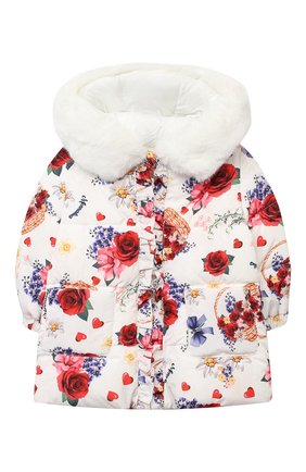 Детского пальто MONNALISA белого цвета, арт. 396111 | Фото 1
