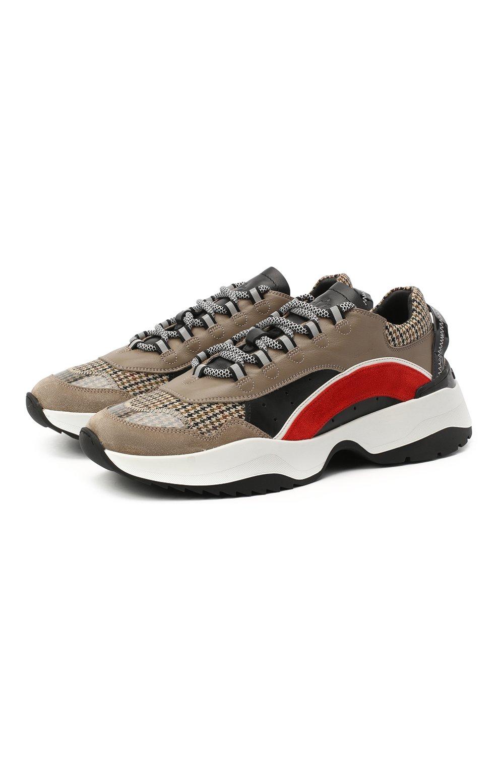 Мужские комбинированные кроссовки d551 DSQUARED2 коричневого цвета, арт. SNM0132 01503264 | Фото 1