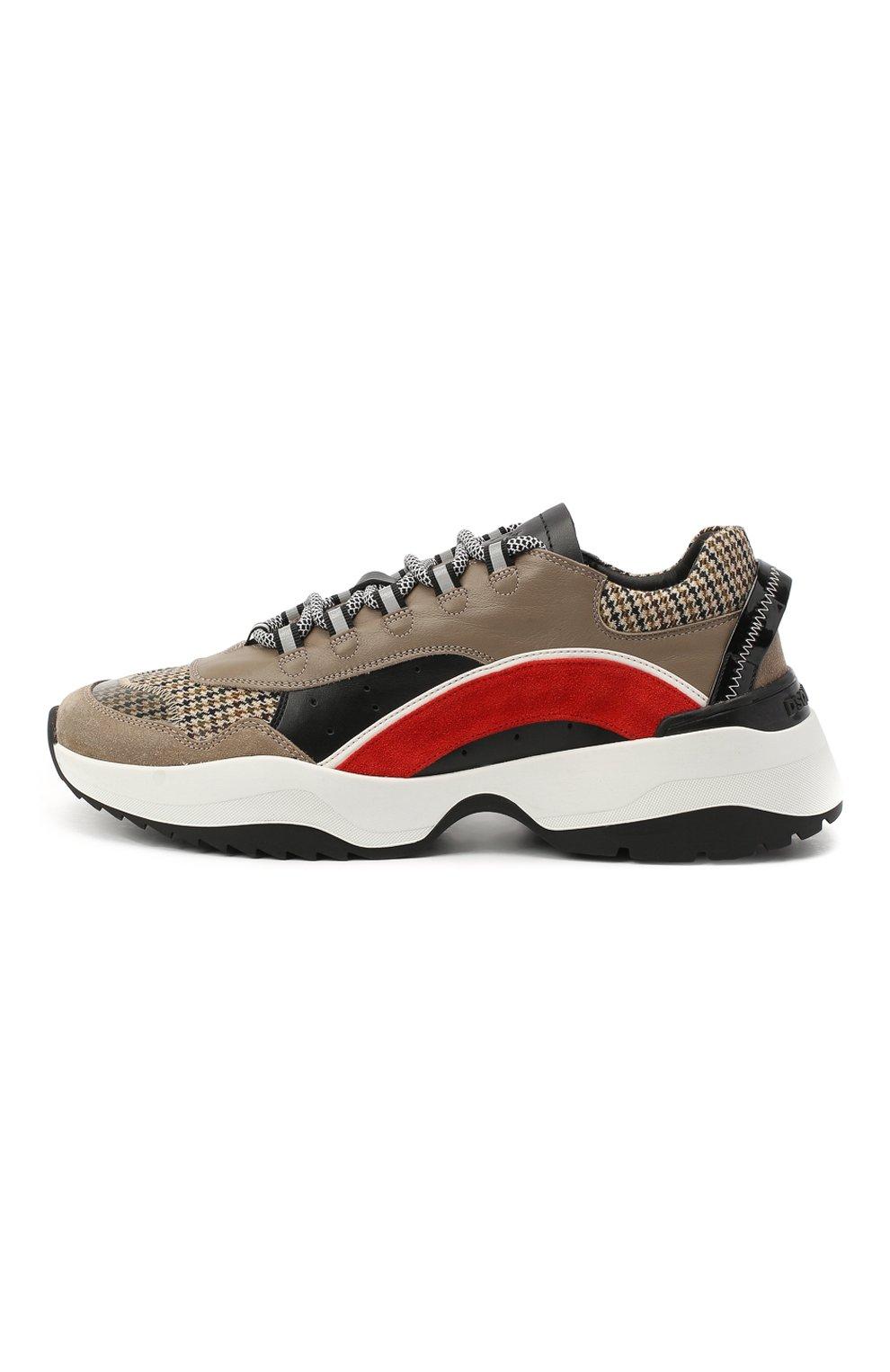 Мужские комбинированные кроссовки d551 DSQUARED2 коричневого цвета, арт. SNM0132 01503264 | Фото 3