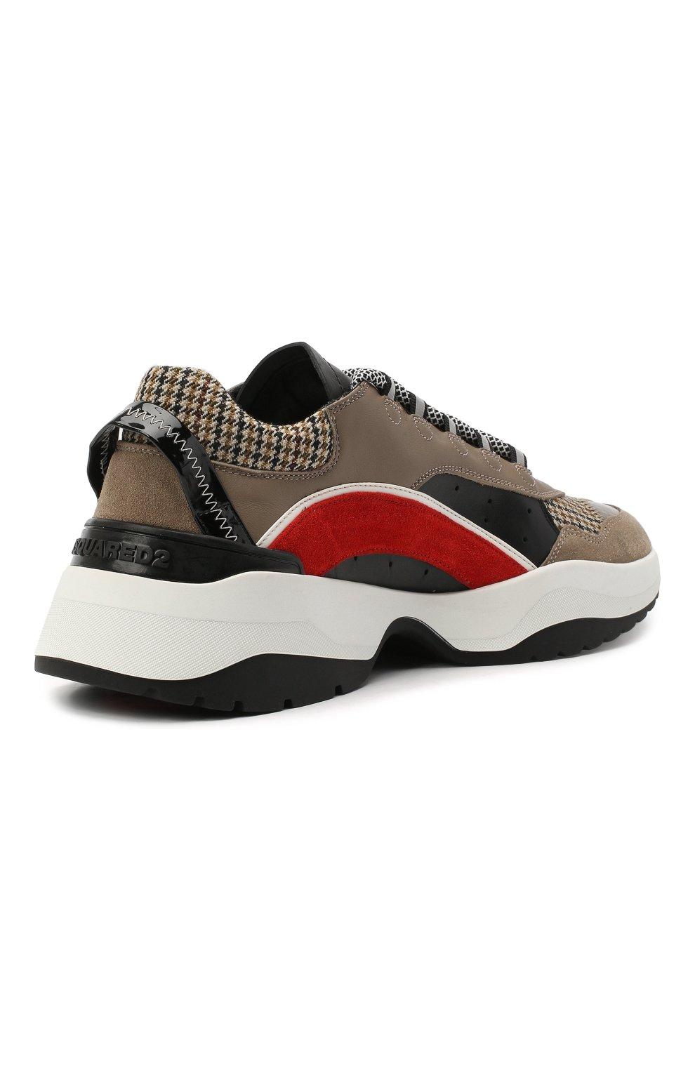 Мужские комбинированные кроссовки d551 DSQUARED2 коричневого цвета, арт. SNM0132 01503264 | Фото 4