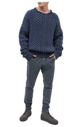 Мужской хлопковые брюки GREG LAUREN темно-синего цвета, арт. GLFW20-AM207 | Фото 2