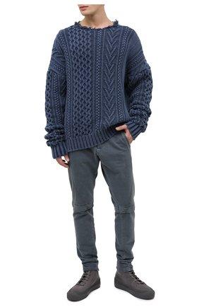 Мужской хлопковый свитер GREG LAUREN темно-синего цвета, арт. GLFW20-AM188 | Фото 2