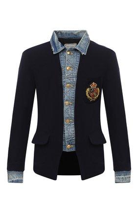 Мужской шерстяной пиджак GREG LAUREN темно-синего цвета, арт. GLFW20-AM102   Фото 1